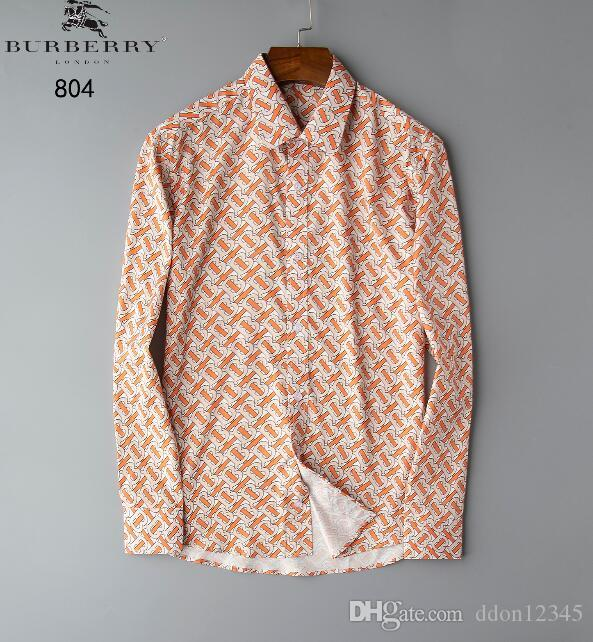 2019 Camisa casual de lujo para hombre Camisas de vestir de diseñador de manga larga Camisas de negocios formales Ropa de marca a cuadros Ropa social Camisa M-3XL # RF02
