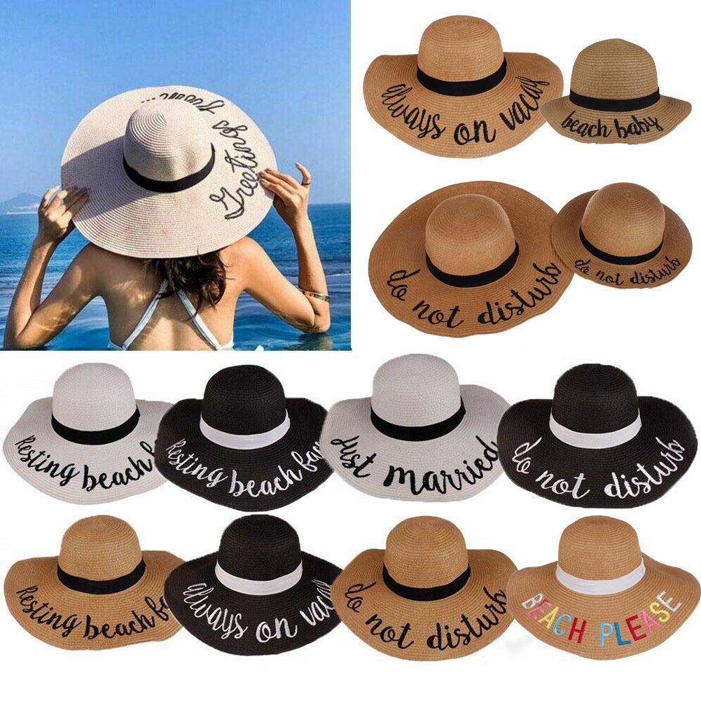 Women Ladies Summer Hat Floppy Derby Wide Brim Straw Beach Sun Foldable Cap