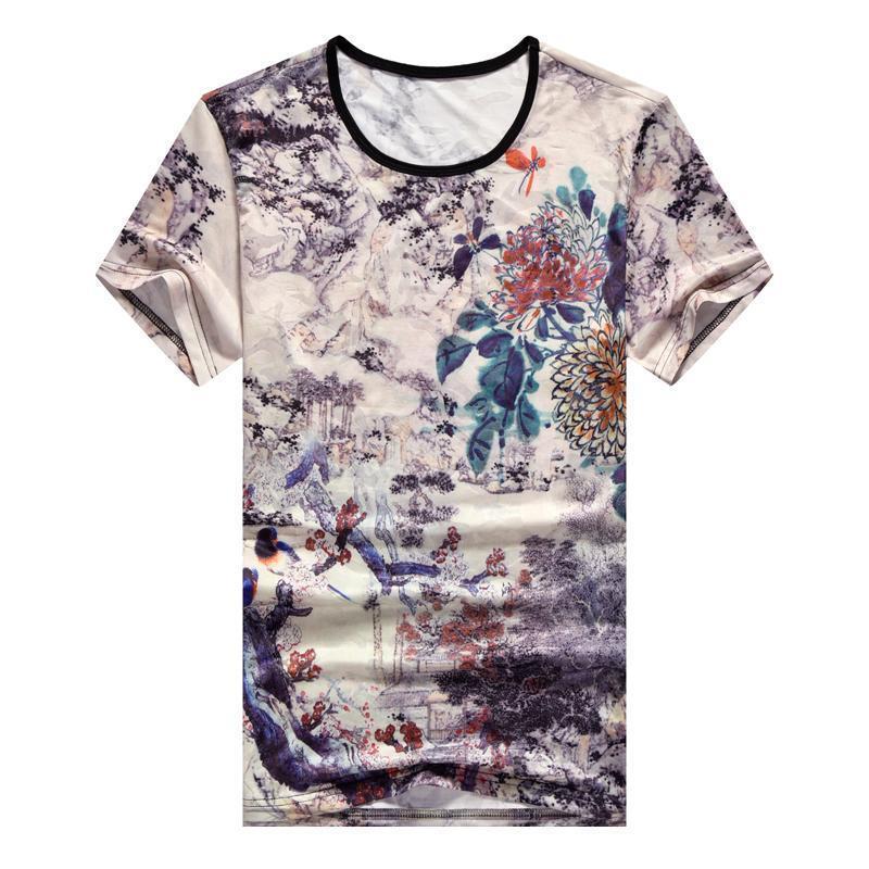 Camiseta de manga corta de los hombres del cuello de O verano camiseta Top Tees de impresión en 3D marca de moda ropa elegante más el tamaño M-7XL