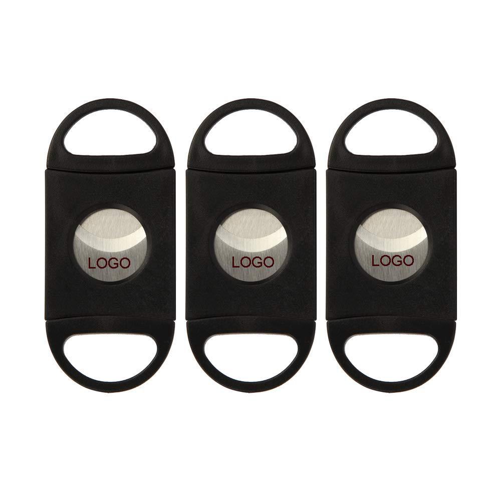 Logotipo personalizado Cortador De Charuto Bolso De Plástico V-CUT Aço Inoxidável Lâminas Duplas Charuto Tesoura Tabaco Preto Novo Presente Personalizado