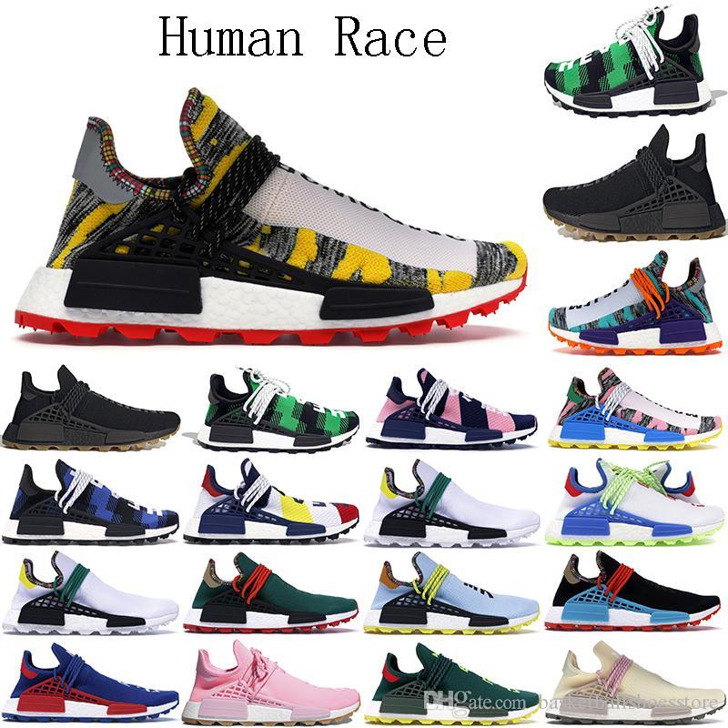 2021 NMD İnsan Yarışı Erkek Koşu Ayakkabıları Hu Pharrell Williams Örnek Güneş Paketi Kırmızı Siyah Spor Tasarımcısı Kadın Eğitmenler Sneakers Boyutu 36-47