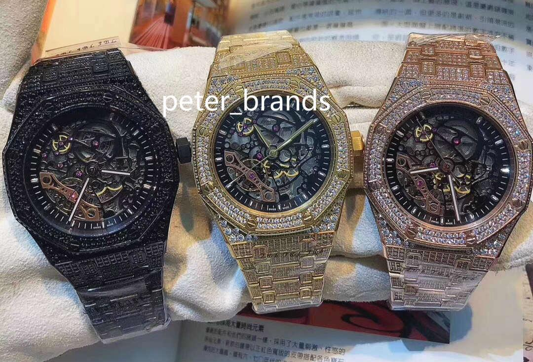 De alta calidad de diamantes completo de Hip Hop Reloj de pulsera Relojes de hielo hueco del diamante de la moda del reloj de 4 colores caja de acero inoxidable relojes automáticos 42MM