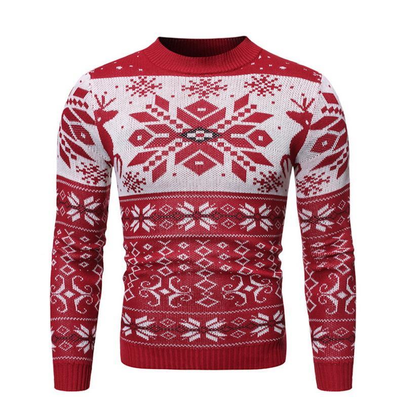 Herbst warme weihnachtsstrickjacke männer mode gedruckt jacke mantel lässig o kragen stricken mens pullover pullover nett