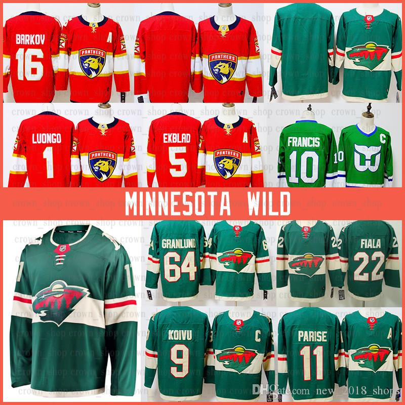 Florida Aaron Ekblad Panthers Hockey Jersey Aleksander Barkov Luongo Minnesota Zach Parise Wild Mikko Koivu Nino Niederreiter Granlund