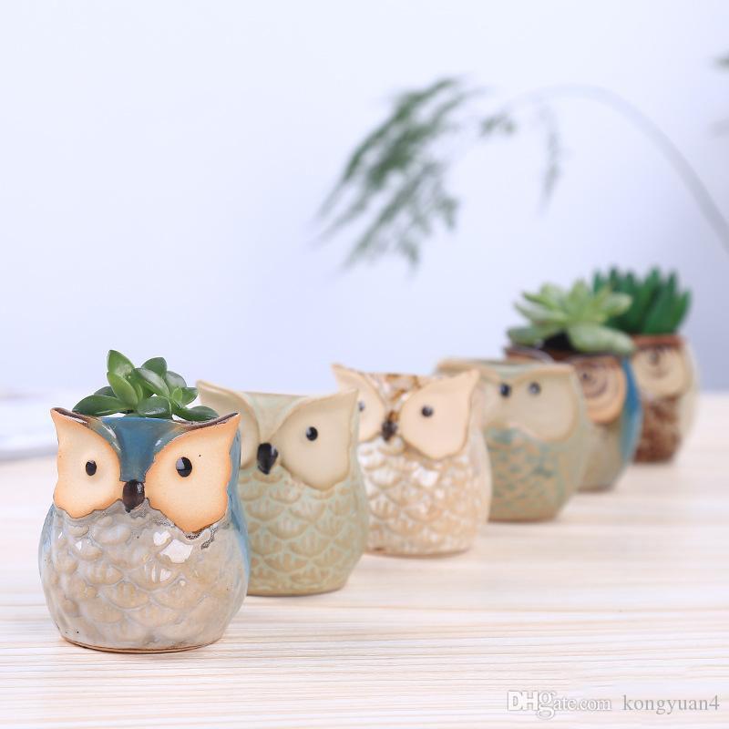 2019 Mini Cartoon Owl-shaped Flower Pot for Succulents Fleshy Plants Flowerpot Ceramic Small Mini Home/Garden/Office Decoration