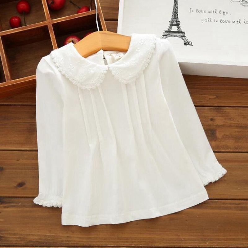 Autumn Meninas de Inverno blusa camisas brancas de algodão Lace shirt de manga comprida Crianças T-shirt da menina Baby Kids 2019 Tops Jw6098