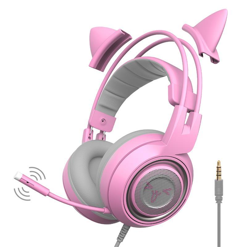 Ps4 Headset Pink Cat Ear Noise Cancelling Headphones 3 5mm Plug Girl Kids Gaming Headsets With Microphone For Ps4 Controller Pc Phone Gamer Wireless Headset With Mic Wireless Headset Reviews From Nothomme 41 21