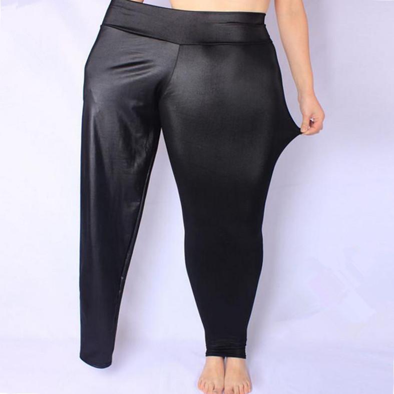 2018 nuove donne calde sexy leggings neri Hip pelle effetto bagnato Faux Plus Size Couro Do Falso XXXXXL formato ansima estate delle donne calde