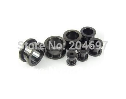 Wholesale-60pcs Mix 6 medidores 10-20mm titanio anodizado tornillo de acero inoxidable En Negro túnel de la carne oído de la joyería del cuerpo del ampliador del enchufe
