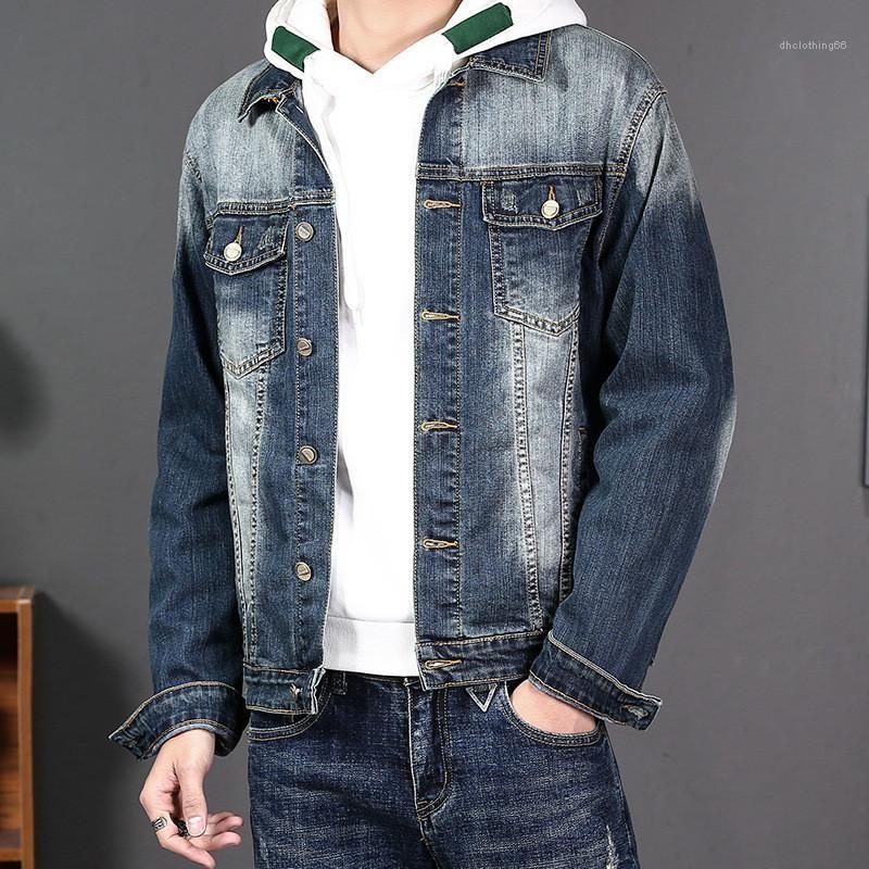 Brasão manga Único Breasted masculino Mens Primavera Magro Denim Jacket Top New Casual Simples lapela Long Neck