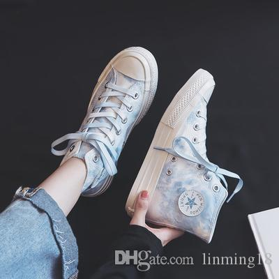 2019 new high-top canvas shoes female students Korean version of the Sen network red wild shoes
