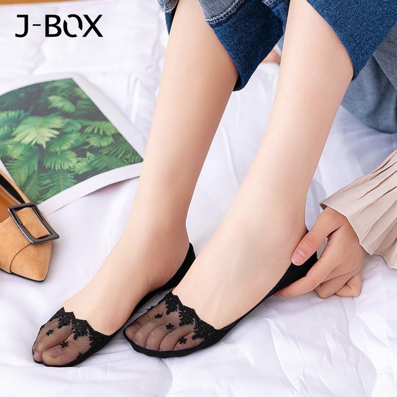 2019 Fashion Womens Cotton Lace Antiscivolo calze invisibili della fodera Elastic Comfy Female primavera primavera Ankle Boat calze corte a taglio basso