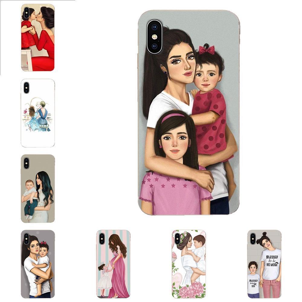 Phone case Black Brown Hair Baby Queen Mom Girl For Xiaomi Mi3 Mi4 Mi4C Mi4i Mi5 Mi 5S 5X 6 6X 8 SE Pro Lite A1 Max Mix 2 Note 3 4 Fundas
