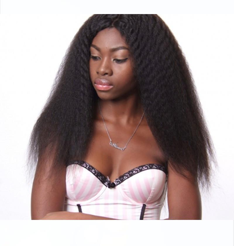 Brasiliani umani Parrucche per Black Women diritta crespa 360 merletto della parte anteriore parrucche Pre pizzico Natural Color