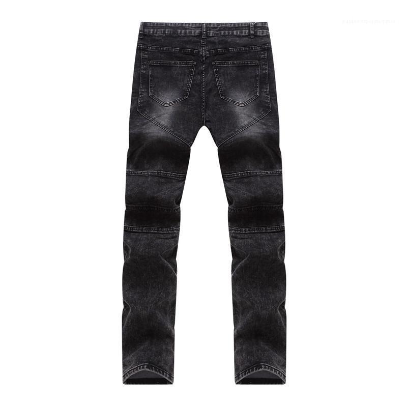 Kleidung Slim Fit mittlere Taillen-Jean-Bleistift-Hosen der Männer Designer Lange dünne Jeans Mens Reißverschluss