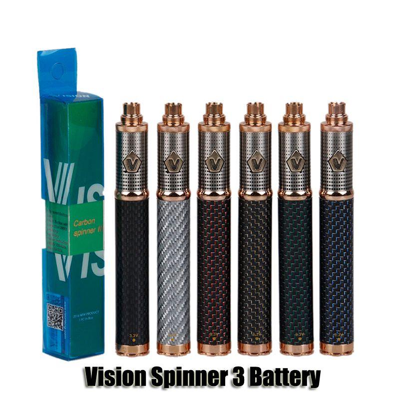 Vision Spinner 3 III Батарея Углеродное волокно 1650mAh Переменное напряжение VV 3.3-4.8V Батарея для 510 EGO CE4 E CIGARETT ATOPARET