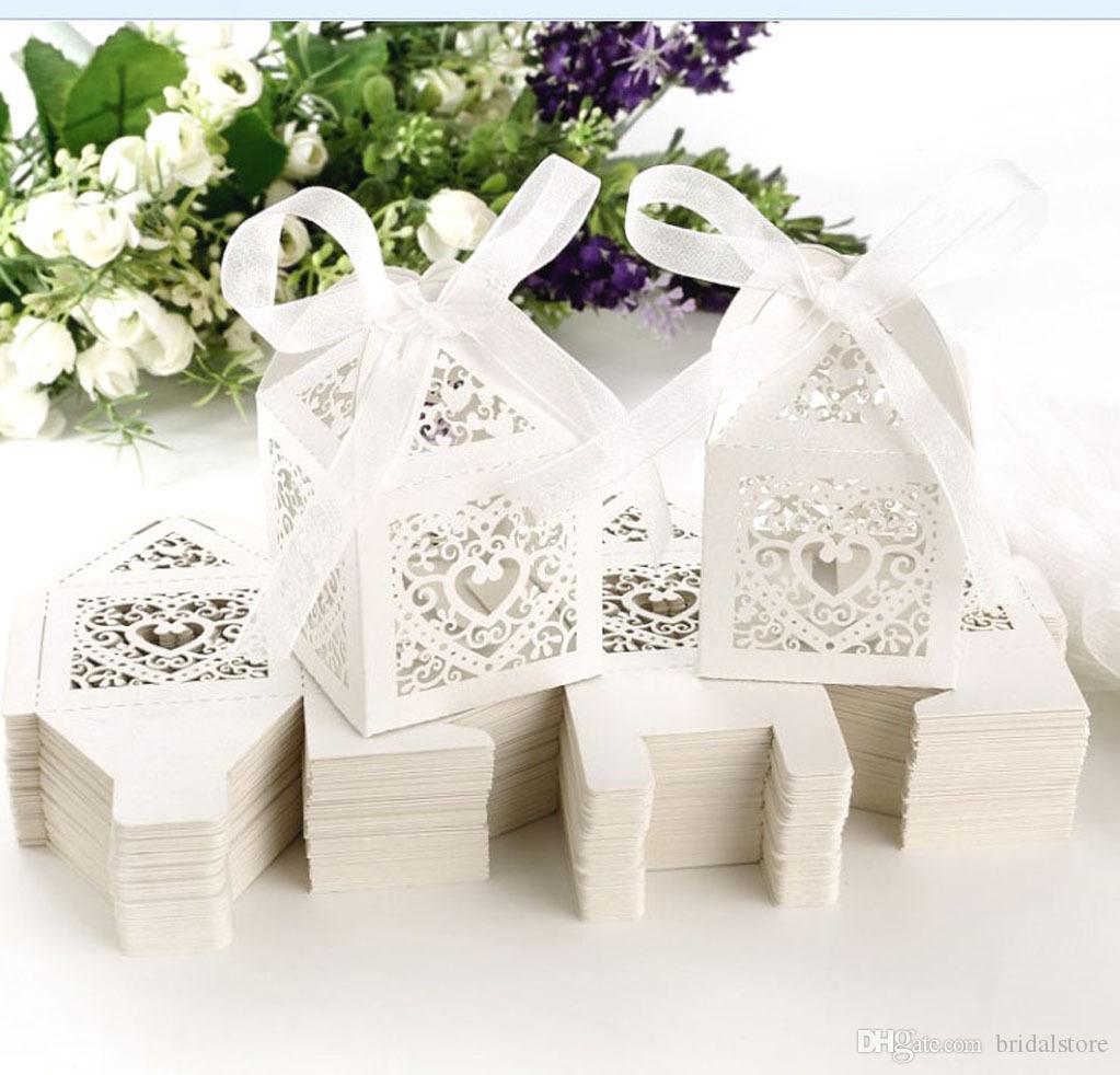 Pink Love Coeur Laser Coupe Candy Cadeau Boîtes Cadeaux Chocolat Coffrets Bridal Boîte Boîte Boîte Boîte Avec Rubans Country Wedding Cadeaux Souvenirs