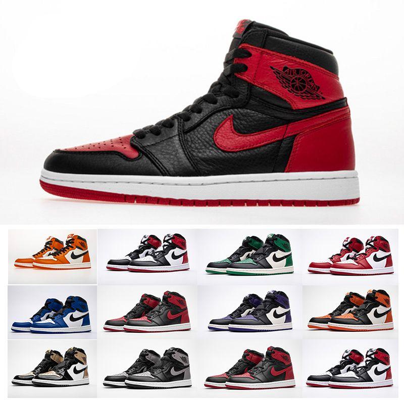 Compre Nike Air Jordan 1 Para Hombre De Las Zapatillas De Deporte De Moda  Unisex De Las Mujeres Zapatos De Deporte De Alta Calidad Chicago MID OG  ROJO ...