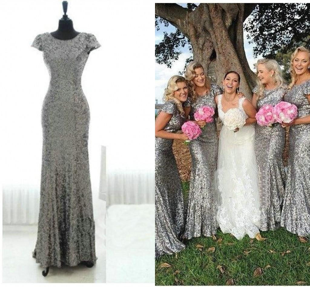 Sparkly Grey Sequins Mermaid Bridesmaid Robes Dress Backless Short Sleeves Country Designer Long Robes De Demoiselle Dhonneur Prom Dress Orange Bridesmaid Dresses Long Bridesmaid Dresses From Stunningdress88 60 88 Dhgate Com