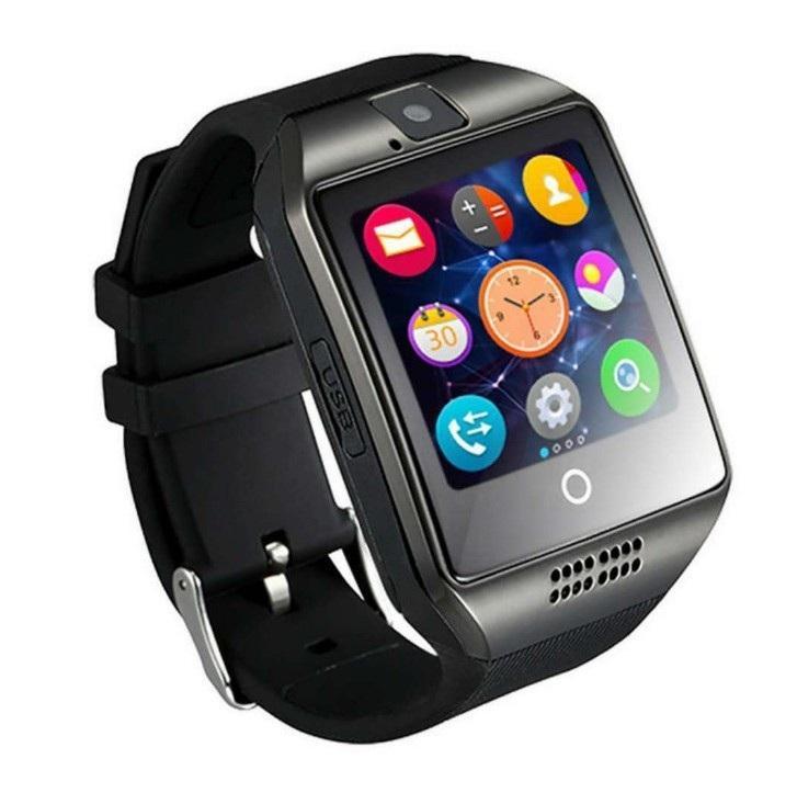 Bluetooth relógio inteligente Homens Q18 com tela de toque grande apoio bateria da câmera TF com o cartão SIM para o SmartWatch com o telefone android