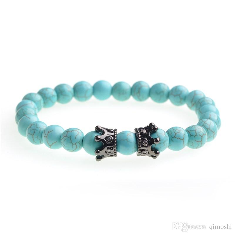 Double Crown Bracelet Beads Bracelet King Queen Luxury Charm Couple Jewelry Christmas Gift Lady Men