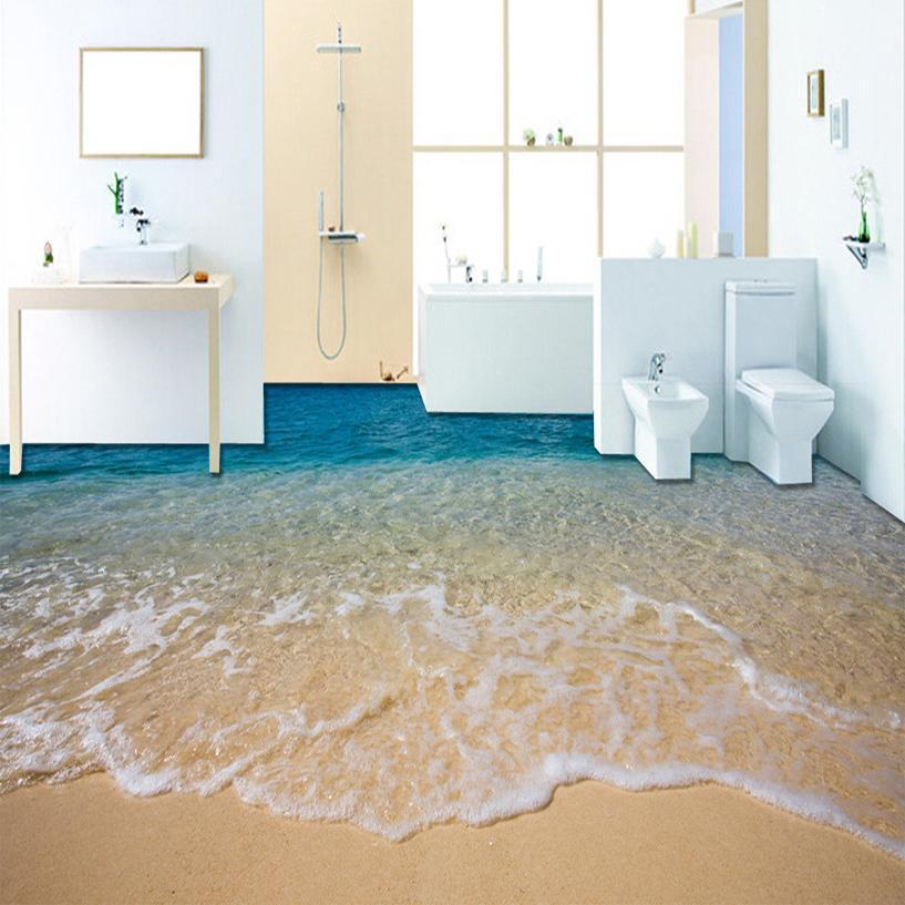Пользовательский 3D берег вода Гостиной Спальни Ванной Этаж Роспись Самоклеящиеся виниловые обои Home Decor De Parede