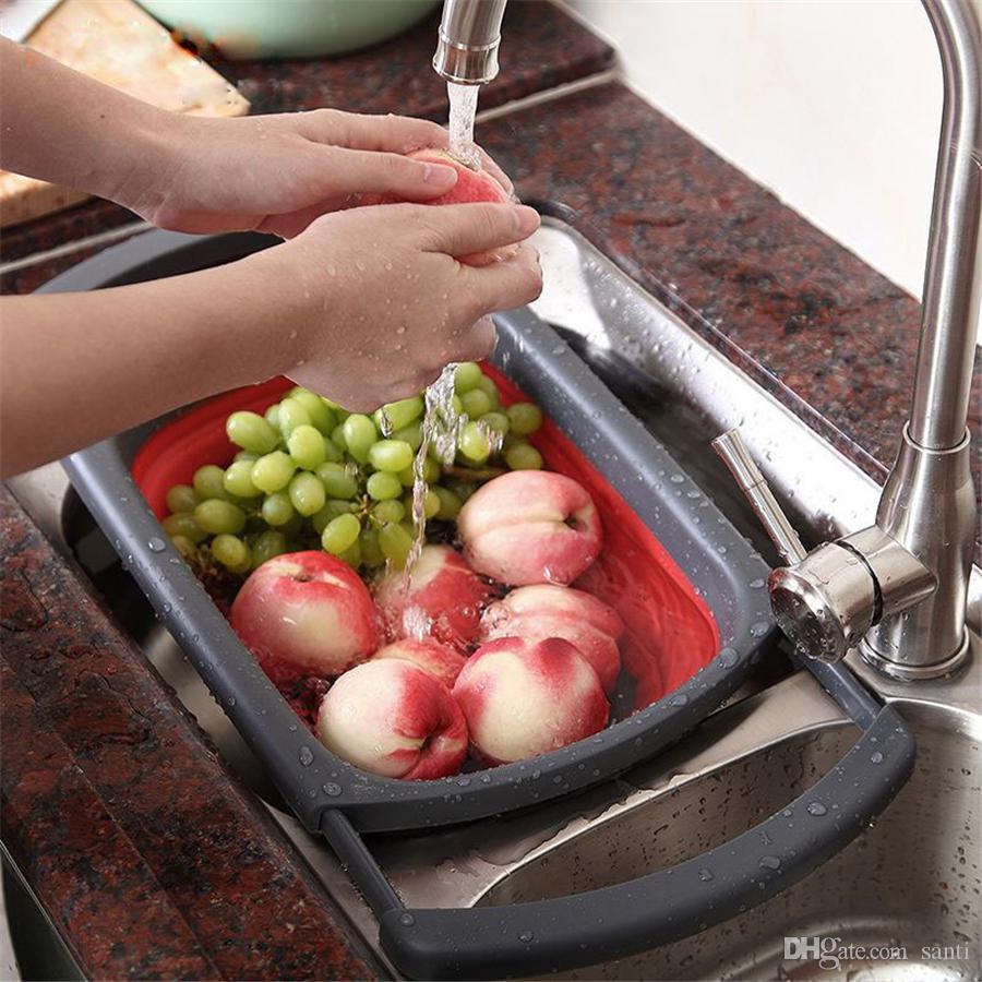 سلال هجرة لطي مطبخ المصفاة طوي مصفاة قابلة للطي مع مقابض قابلة للتمديد 6-ربع اكسسوارات المطبخ القدرات JK2003