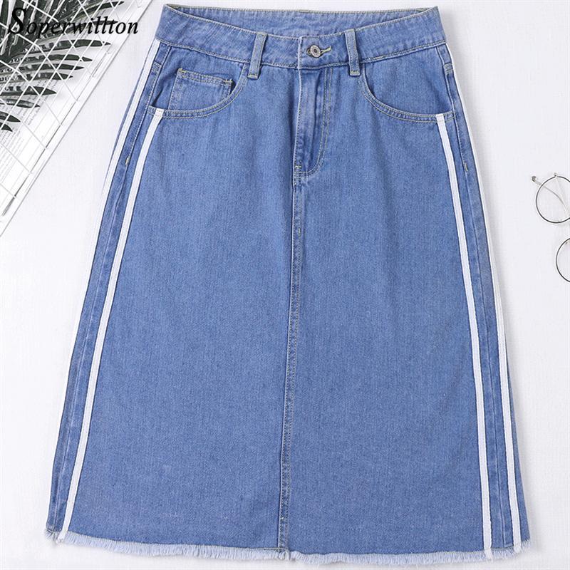 Printemps D'été Printemps Solide Bleu Casual Taille Haute Denim Jupes Pour Femmes High Street Back Fente Gland Jeans Jupe Femme Plus La Taille 5XL