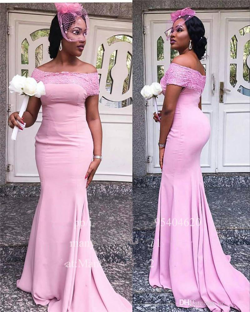 2020 Bew Beach Sereia Africano Fora Do Ombro Blush Rosa Vestidos De Dama De Honra Camo Africano plus Size Vestidos De Dama De Honor