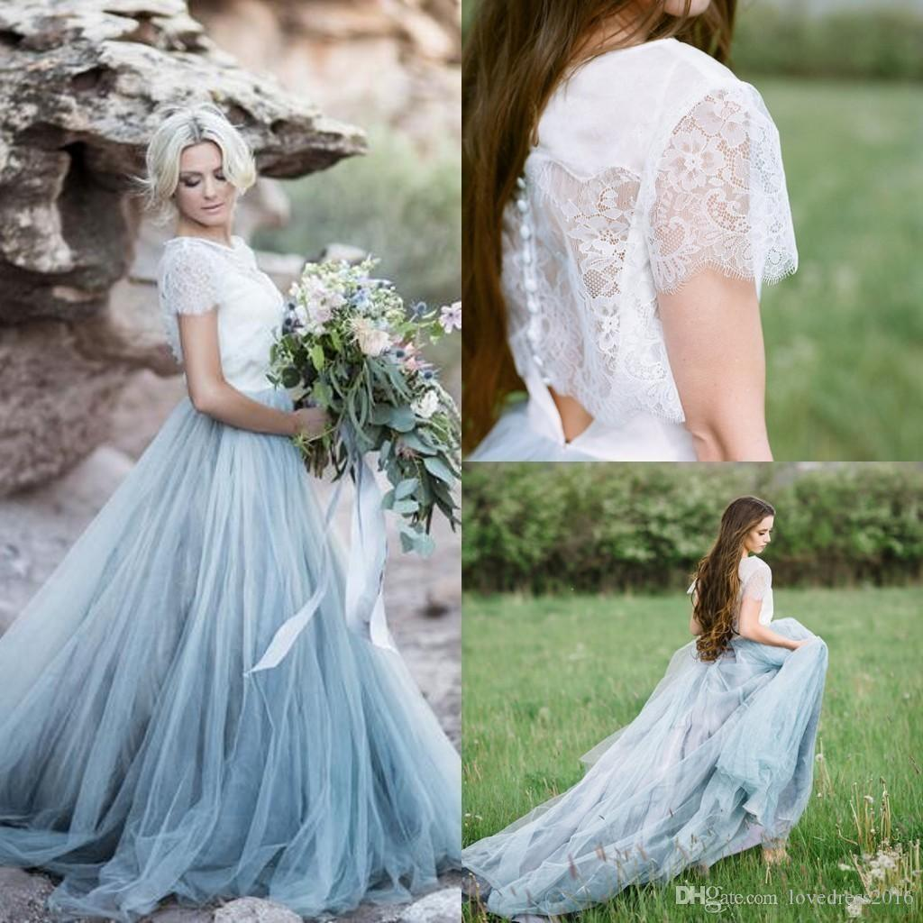 2019 Country Long Sweep Tulle A Line Wedding Dresses with Buttons Back Lace Short Sleeves Top Wedding Gowns for Bride
