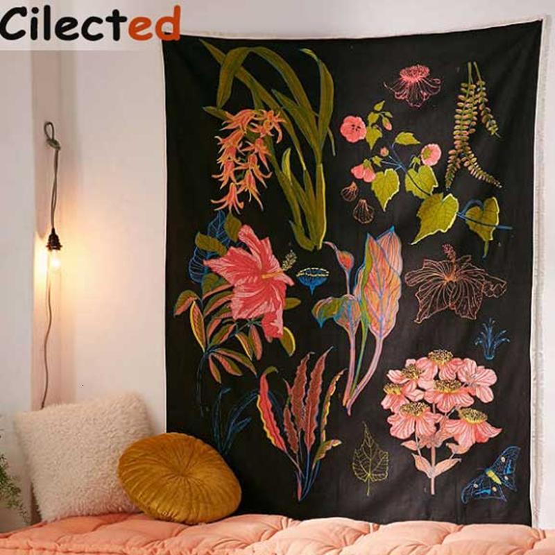 Polyester Kumaş Dekoratif Duvar Halılar Manzara Baskılı Mandala Goblen Hippi SH190925 Asma Cilected Çiçek Goblen Duvar