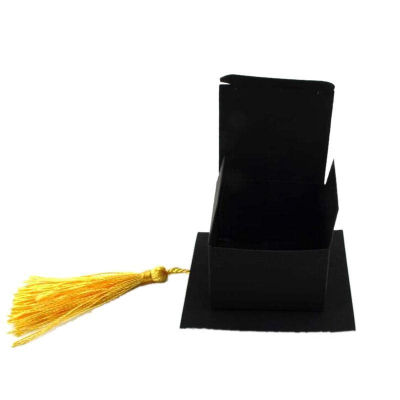 Celebración del casquillo del sombrero 50pcs caja del caramelo de la graduación de la decoración del partido de caramelo cajas del favor de la graduación de regalo caja de embalaje