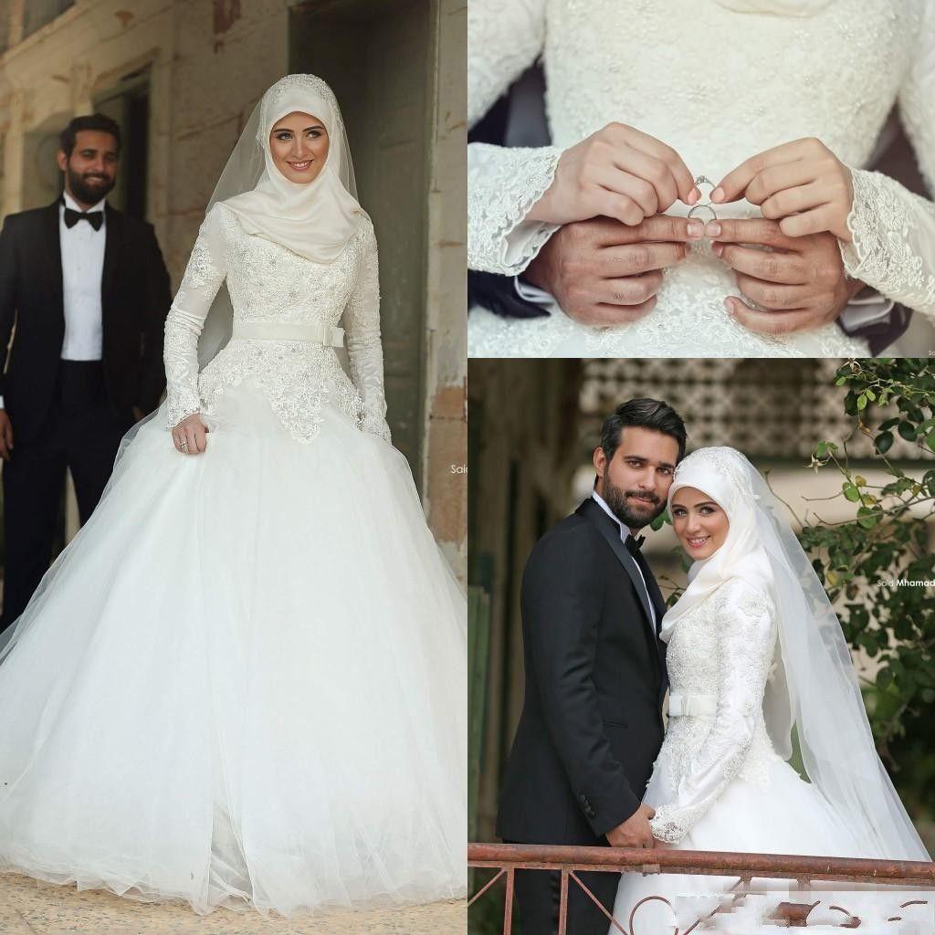 2020 islámica árabe musulmán Un Vestidos de novia Línea vestidos de novia de encaje de manga larga Medio Oeste más el tamaño de vestido de la novia