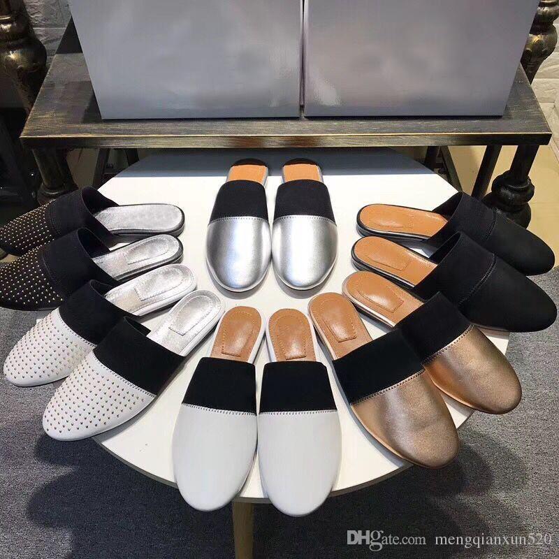 Tasarımcı Yaz Plaj Terlik Moda Loafer'lar Tembel Düz Baotou Floplar 100% Deri Mektup Bayan Karikatür Slaytlar Kadın Ayakkabı Bayanlar Sandalet Büyük Boy 35-41-42 US4-US11