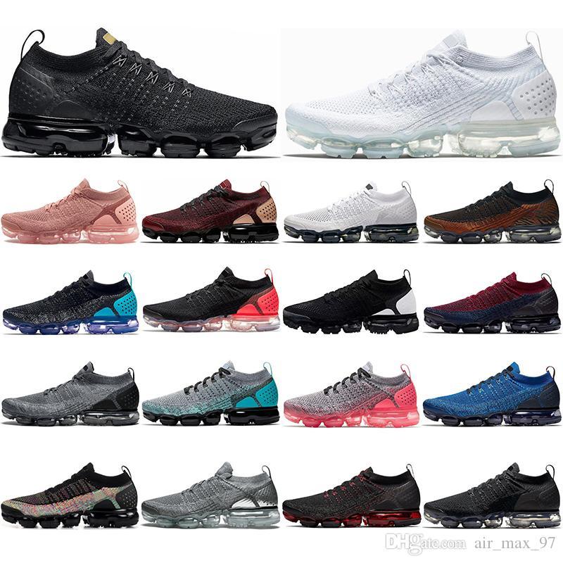 Nike Air Vapormax  Flyknit 2.0 Mit Socken Mode Knit Fly 1.0 Laufschuhe Männer Frauen VOLT Dusty Cactus Schwarz Metallic Gold Designer Schuhe Turnschuhe Trainer 36-45