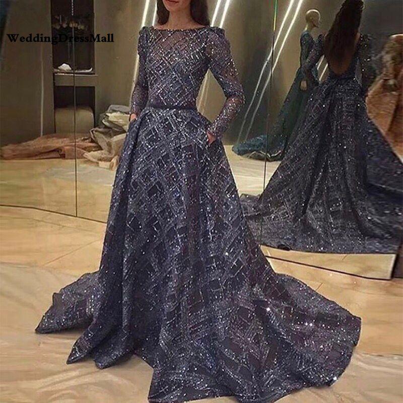 긴 소매 반짝이 네이비 블루 등이없는 아랍어 이브닝 드레스 두바이 공식적인 저녁 가운 가운 데 야회