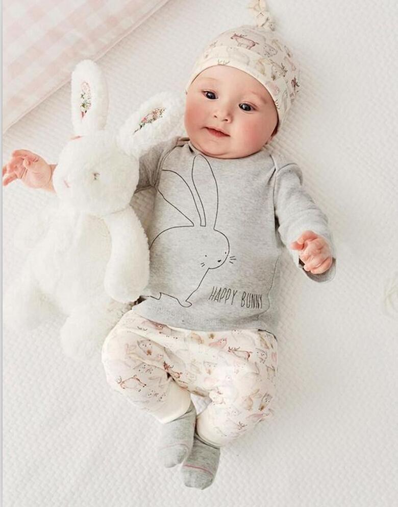 3шт милый кролик новорожденный мальчик девочка боди шляпа футболка брюки детские хлопок повседневные наряды одежда наборы