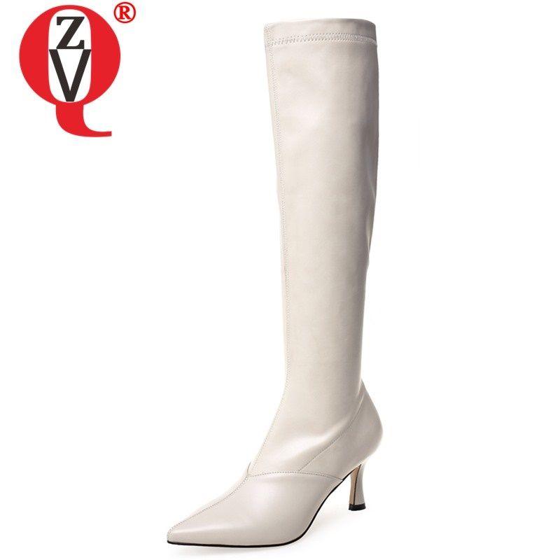 botas altas de invierno ZVQ nueva moda de la rodilla atractiva fuera de zapatos de tacón alto del dedo del pie señalaron los zapatos de cuero genuinos de las mujeres caen el envío tamaño 33-43