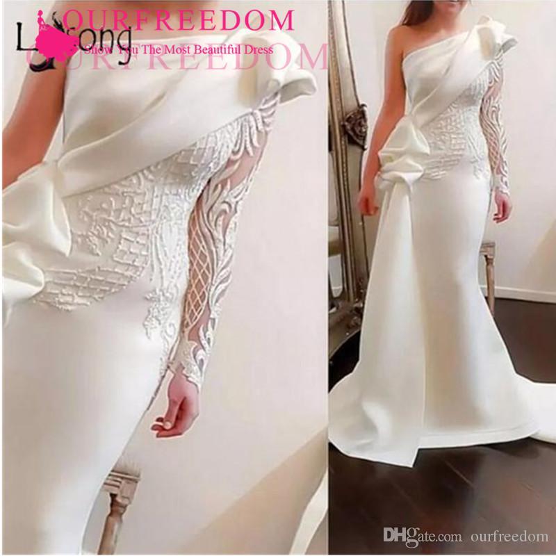 Abendkleider 2020 One Shoulder Ruched Evening Dresses Tassel Tutu Mermaid Prom Gowns Arabic High Collar Formal Dresses Custom Made Free