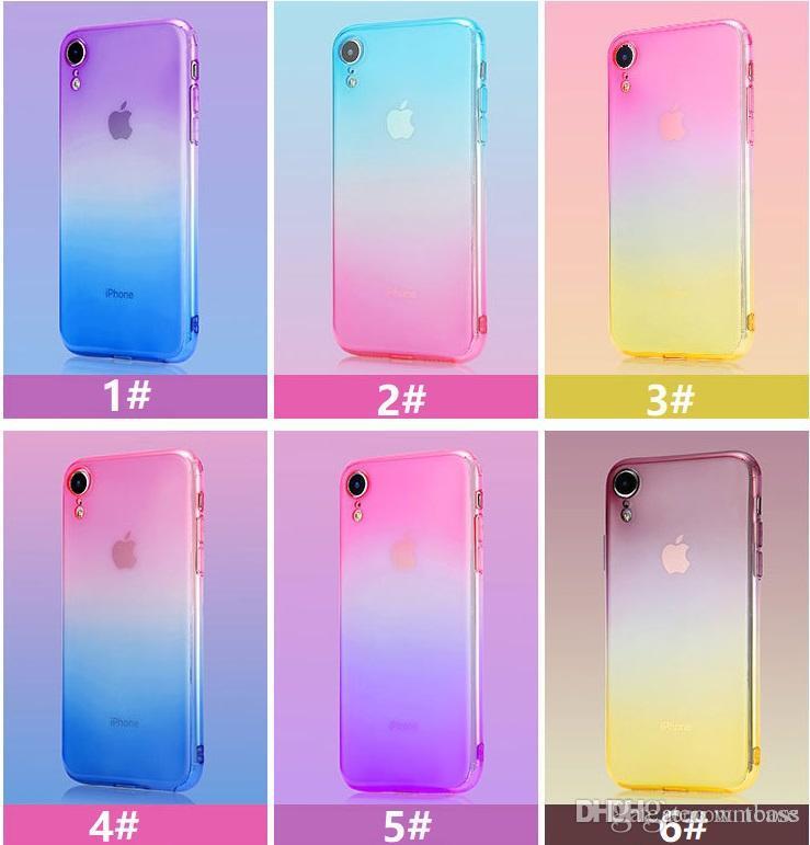 Steigung färbt Antischock-weiche klare Fälle für iPhone XR XS maximales 8 7 plus 6 6S neuestes Ankunfts-Qualitäts-Wiegen-Design