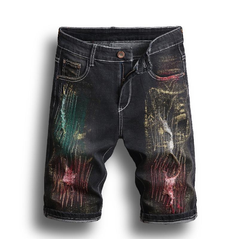 Yıkanmış Tahrip Kot Şort Erkekler Boyalı Renkli Sıkıntılı Tide Erkek Jean Hip Hop Elastik Diz Boyu Erkek Gençlik Moda Şort