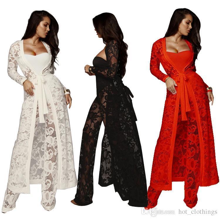 Черный белый красный без бретелек кружева видеть сквозь комбинезон сексуальные женщины кардиган пальто + боди + длинные брюки 3 шт комбинезон плюс размер комбинезоны