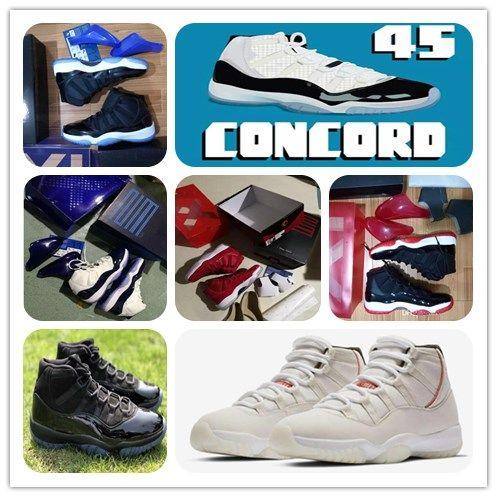 11 concord 45 Platinum Tint Cap und Gown Basketballschuhe 11s Xi Space Jam gezüchtet Gewinnen Sie wie 96 82 Echte Kohlefaser-Sport-Sneaker-Box