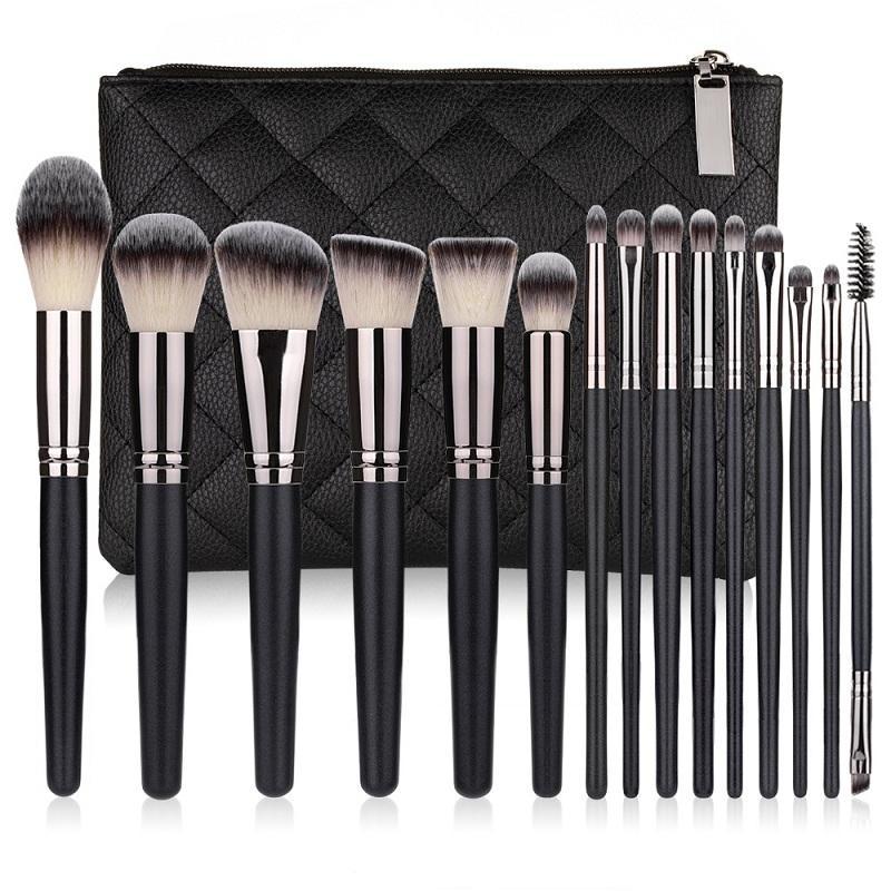 set nouvelle brosse maquillage 15pcs cheveux synthétique de haute qualité noire maquillage outils brosse kit pinceaux de maquillage professionnel.