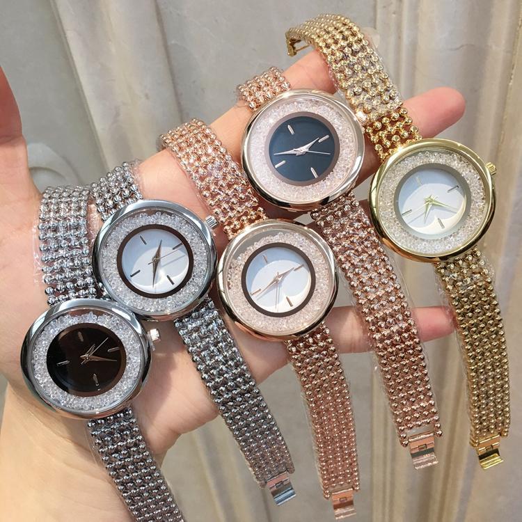 En kaliteli sıcak Moda Kadınlar İzle Pırlanta Bilezik Zinciri Japonya Hareket Çelik Stili kadın elbise Kuvars Casual İzle Relojes De Marca Mujer
