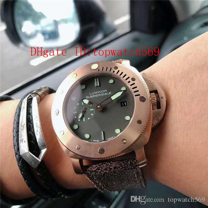 New Pam00382 Uhr Pam382 Herren-Uhr Schweizer automatische mechanische Saphir-Kristall 18 Karat Roségold 316L-Stahl-Gehäuse Brown Kalbslederband