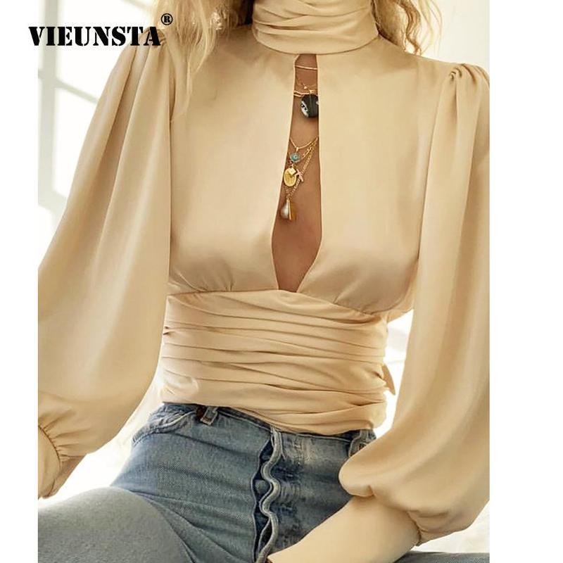 Элегантная блузка с длинным рукавом Новая осень Водолазка Сатин Женщины Рубашка Boho выдалбливают Backless Bow Tie женщин Топы и блузки