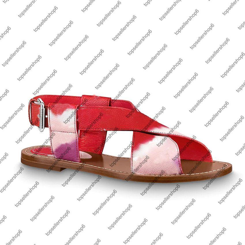 Escale Flat Sandal Women 캔버스 타이 염료 새겨진 버클 넓은 크로스 오버 샌들 신발 끈 가죽 outsole 다채로운 특허 패딩 힐