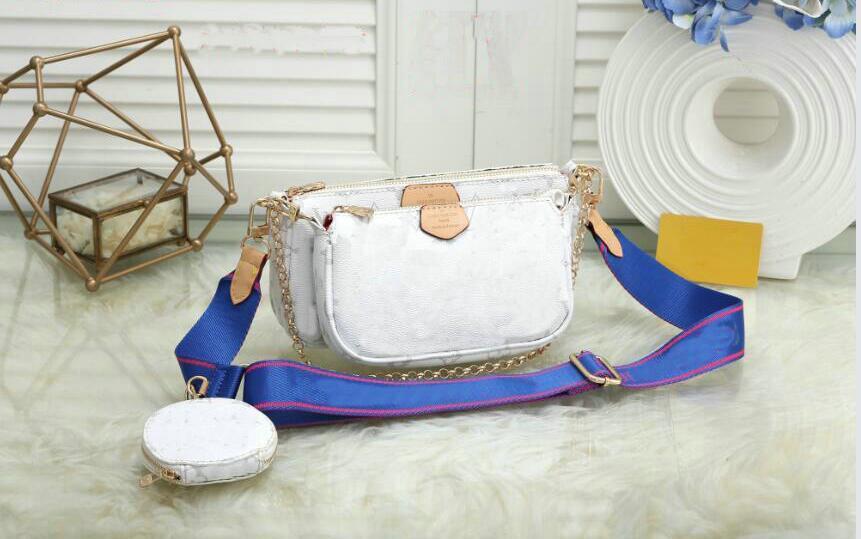 3 pièces / set favoris sac multi-cuir accessoires design sac à main de luxe de sac à main L pochette fleur blanche épaule crossbody dames sacs à main