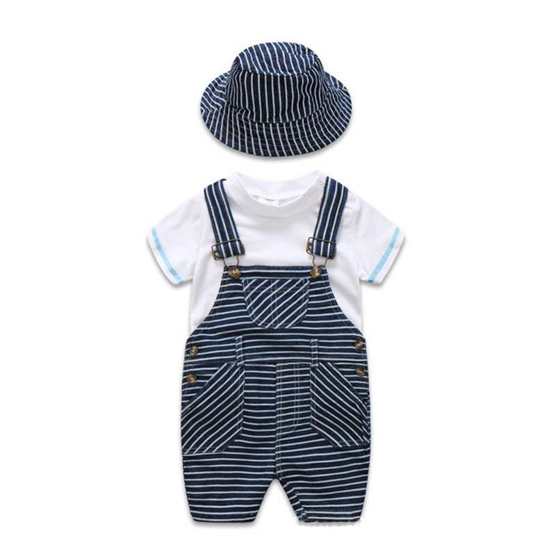 2019 Verão recém-nascido menino roupas de bebê Roupa Infantil roupas de grife crianças 3 pçs / set branco T-shirt + suspender calças + chapéu meninos conjuntos A2617